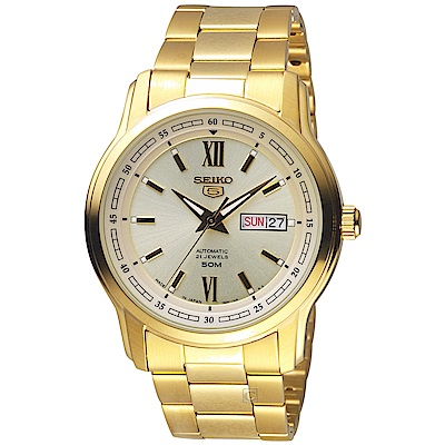 SEIKO精工 5號21石盾牌羅馬機械腕錶 7S26-04T0K SNKP20J1