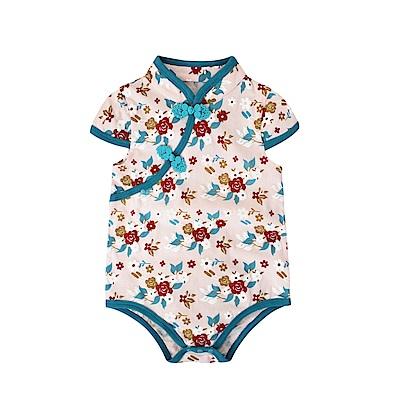 baby童衣 斜襟漂亮花朵短袖包屁衣 60321
