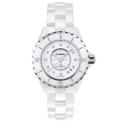 CHANEL 香奈兒時尚必備 J12白陶瓷12顆鑽機械錶-白/38mm H1629