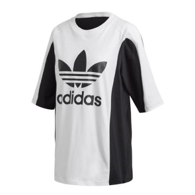 adidas 短袖上衣 休閒 長版上衣 寬鬆 女款 白 黑 FL4118 Original BOY FRIEND TEE