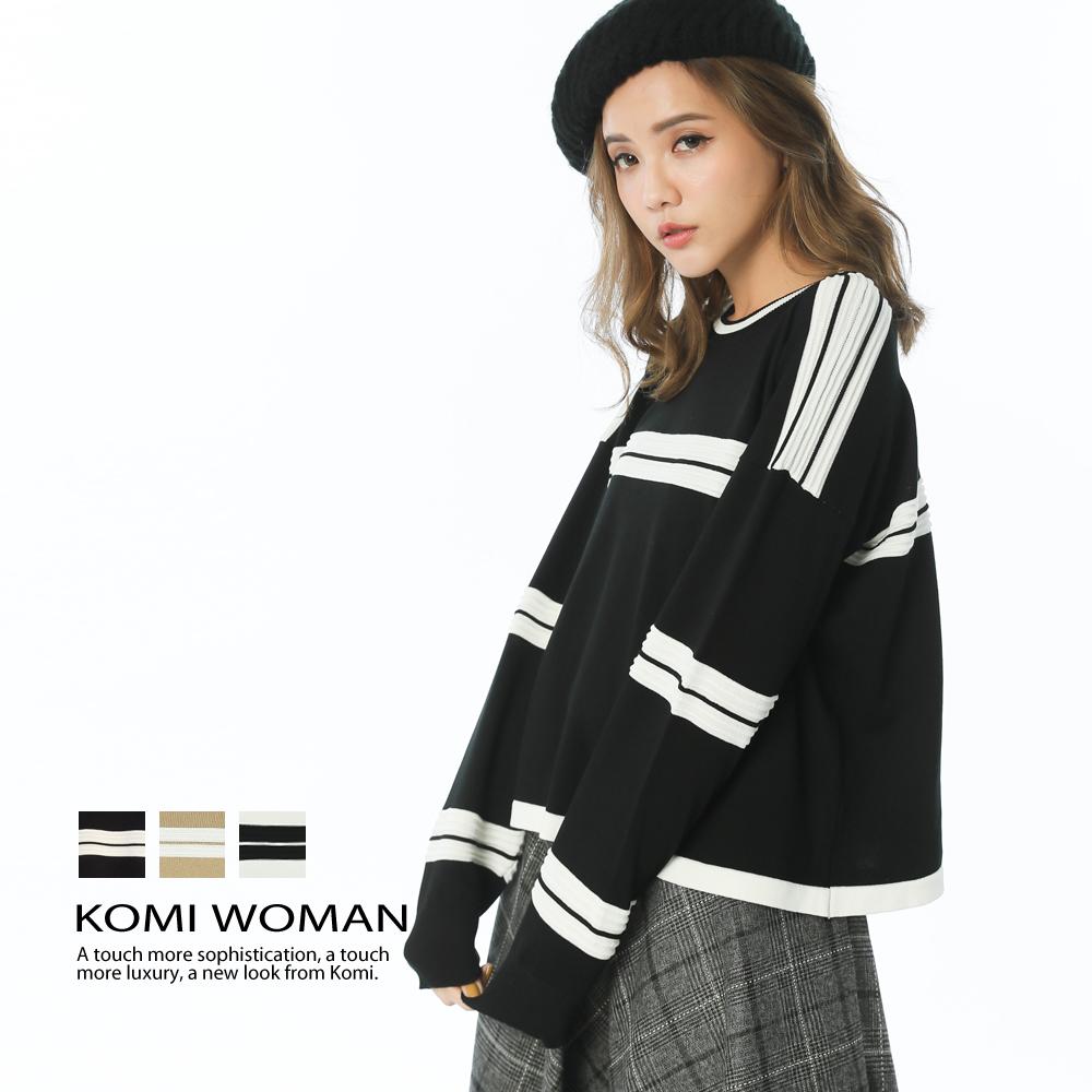 【KOMI】配色立體條紋針織上衣(共三色)