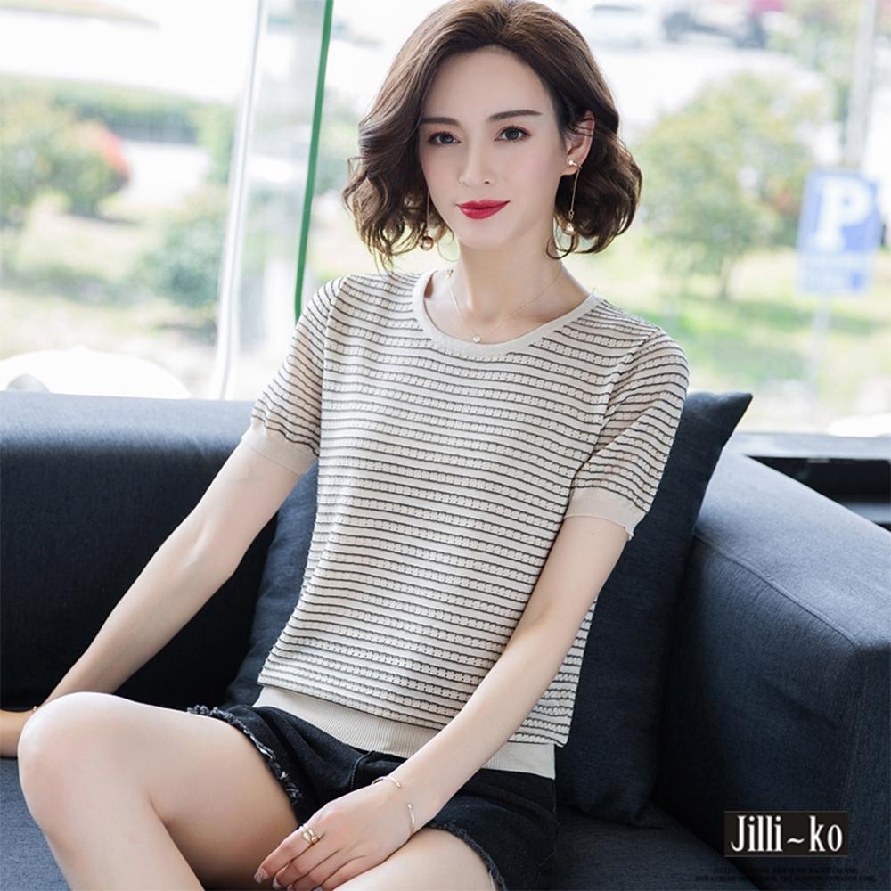 JILLI-KO 冰絲微鏤空條紋造型上衣- 杏/粉紅/黑