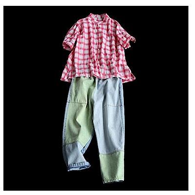 拼色棉質牛仔哈倫顯瘦休閒九分褲-設計所在