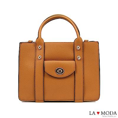 La Moda設計感極強荔枝紋肩背斜背手提托特包(棕)