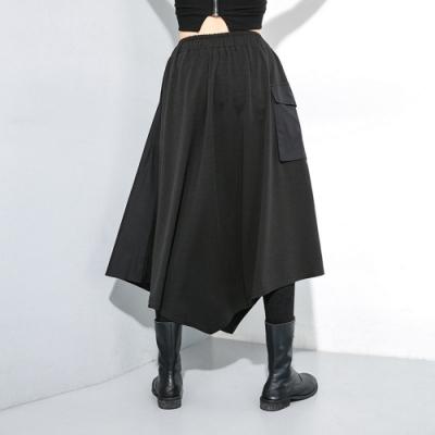 龐克風口袋拼接印花鬆緊腰不規則半身裙-F(共二色)-CLORI