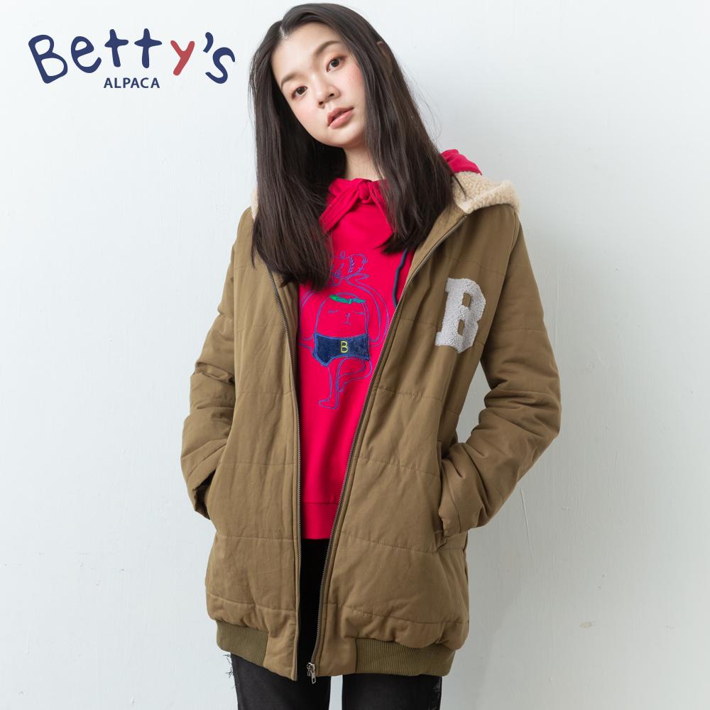 betty's貝蒂思 連帽後繡字母拉鍊鋪棉大衣(綠色)