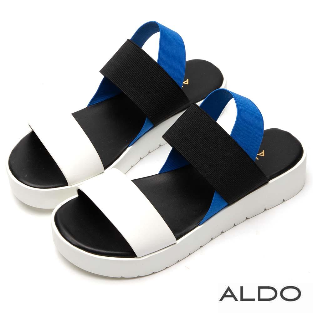 ALDO 原色寬版一字彈性鬆緊帶厚底涼鞋~藍白星空