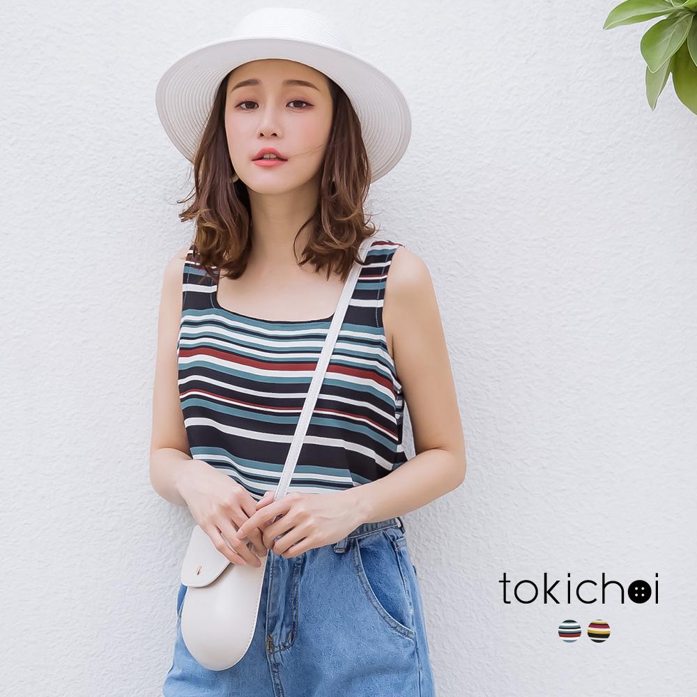 東京著衣  繽紛撞色條紋無袖U領上衣-S.M.L(共兩色)