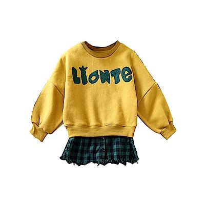 兒童 拼接格紋薄絨長版上衣 TATA KIDS