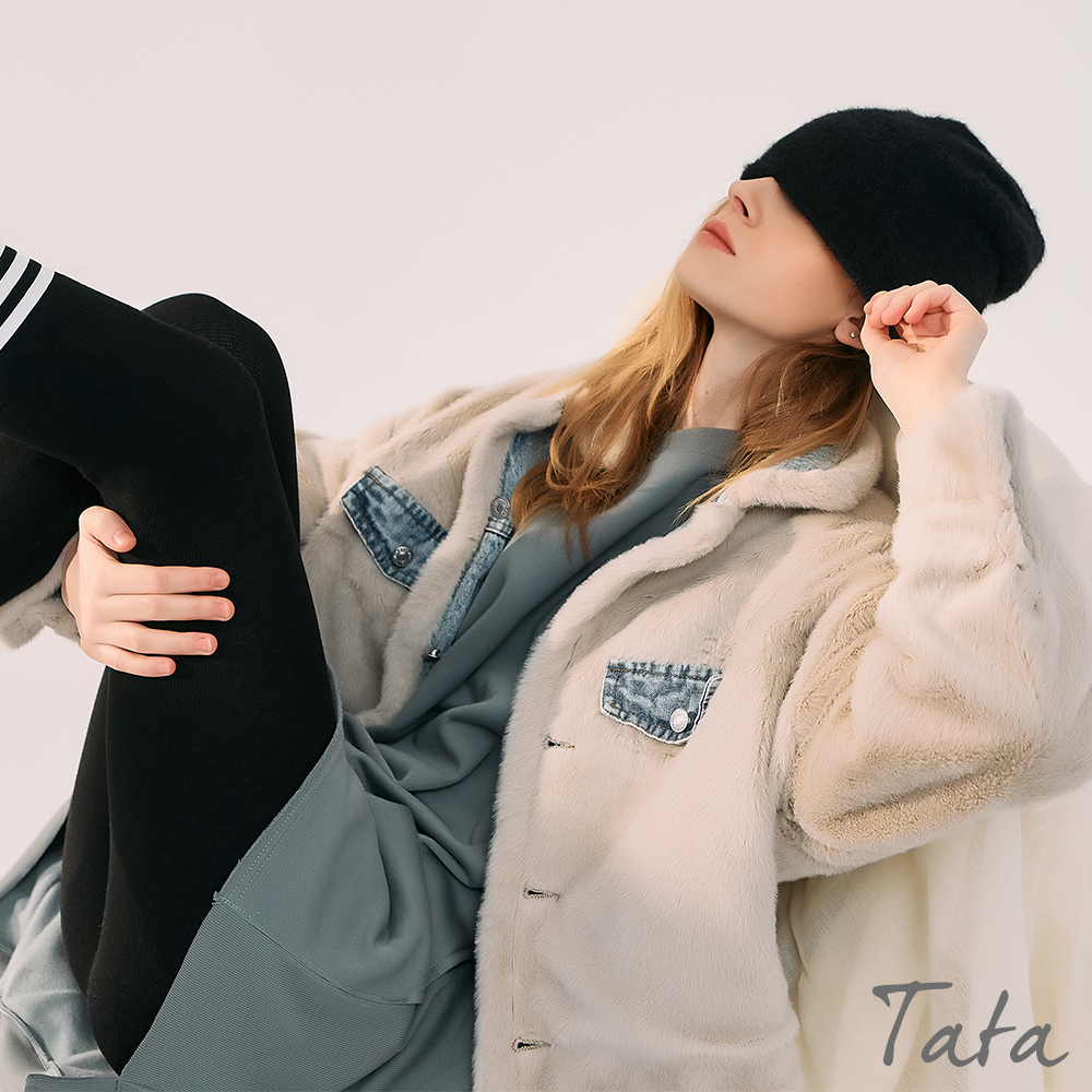 兩面穿落肩絨毛牛仔外套 TATA-F product image 1