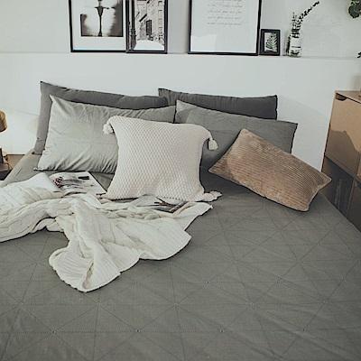 絲薇諾 MIT精梳純棉 艾維斯-灰 加大三件式-床包枕套組