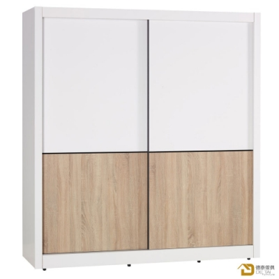 D&T 德泰傢俱 Ivy簡約北歐生活6尺推門衣櫥 寬183X深61X高198公分