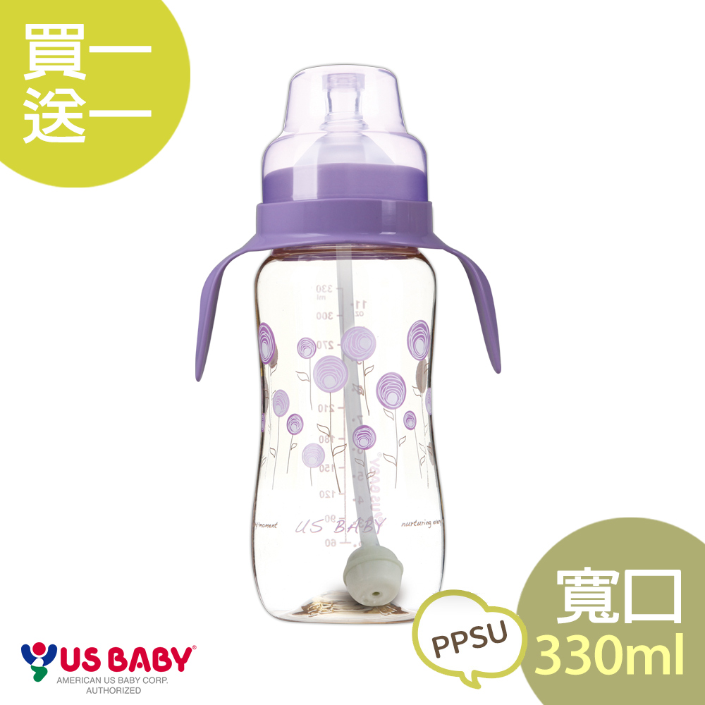 【買一送一】優生真母感PPSU奶瓶(寬口330ml-紫)