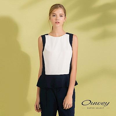 OUWEY歐薇 荷葉裝飾配色無袖上衣(藍)