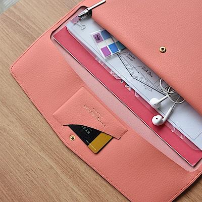 PLEPIC 職人皮革手拿文件包-珊瑚粉