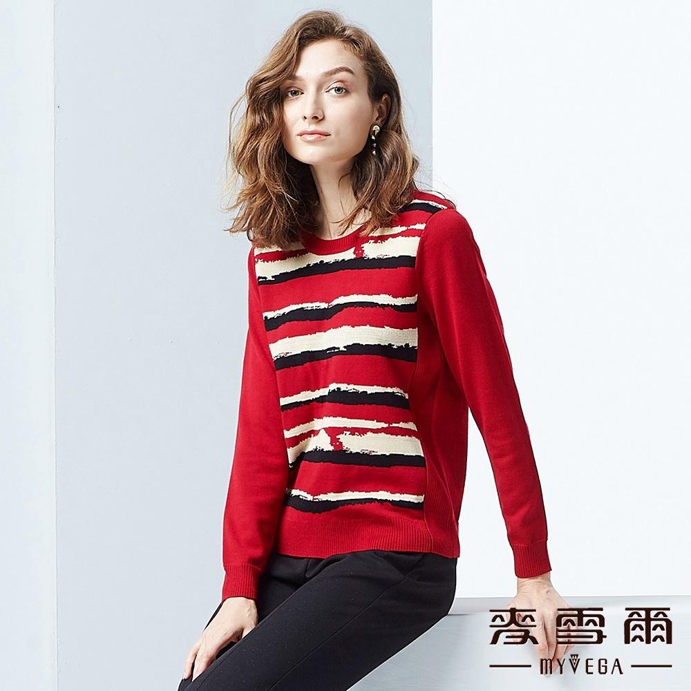 麥雪爾 美麗諾羊毛變化線條針織衫-紅