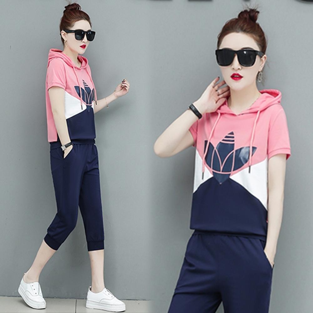 【韓國K.W.】運動風拼接時尚套裝-2色