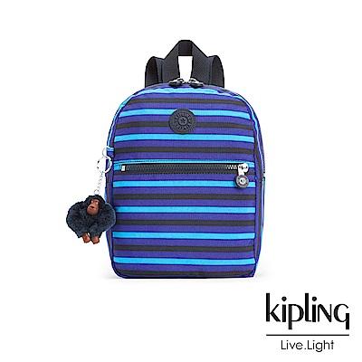 Kipling 後背包 藍黑條紋印花-小