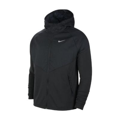 Nike 外套 Therma Jacket 運動休閒 男款 連帽外套 路跑 反光 基本款 黑 銀 CV2239010