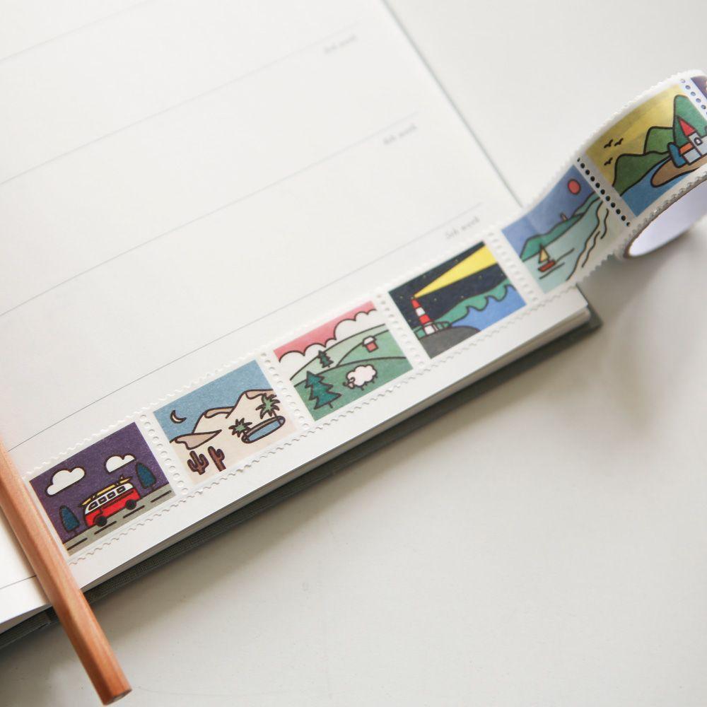 Dailylike 郵票造型紙膠帶(單捲)-12 自然世界