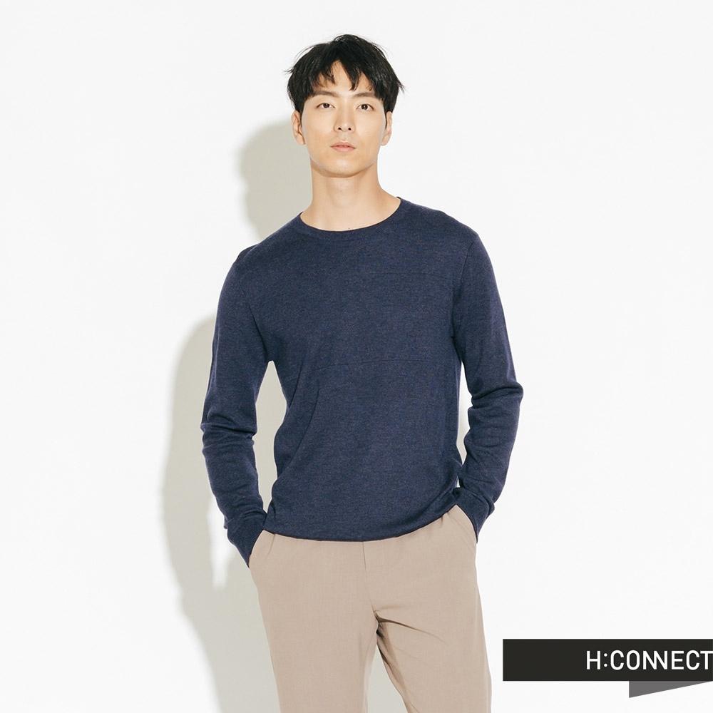 H:CONNECT 韓國品牌 男裝-素面柔軟針織上衣-藍(快)