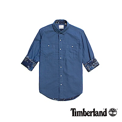 Timberland 男款深藍色Branch River長袖襯衫