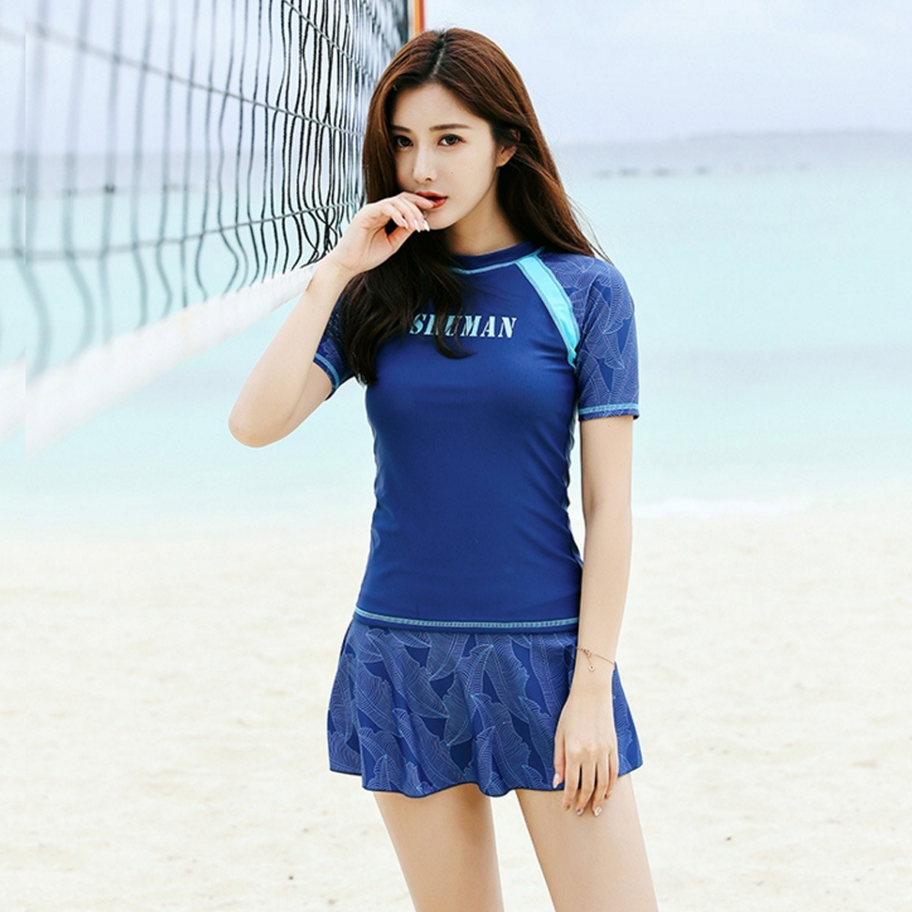 Biki比基尼妮泳衣,陽日情侶泳衣二件式泳衣短袖M-2XL(女購買區)