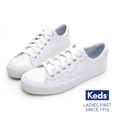 Keds CREW KICK 經典半月皮革綁帶休閒鞋-白
