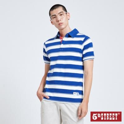5th STREET 配色寬條紋 短袖POLO衫-男-寶石藍