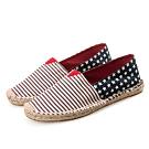 韓國KW美鞋館 (現貨+預購) 前條紋後星星歐美外銷草編休閒帆布鞋-紅