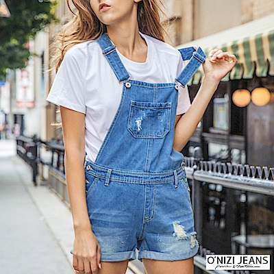 onizi牛仔吊帶短褲-女-藍