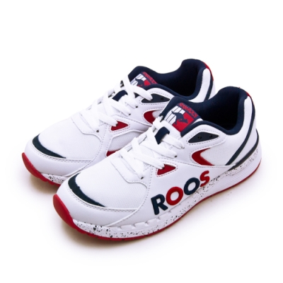 KangaROOS 經典電繡LOGO復古慢跑鞋 紅標系列 白藍紅 91069
