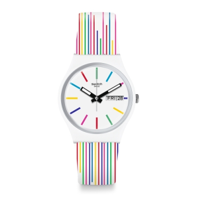 Swatch  I love your folk系列手錶 WHITE SAMBA 七彩紋路