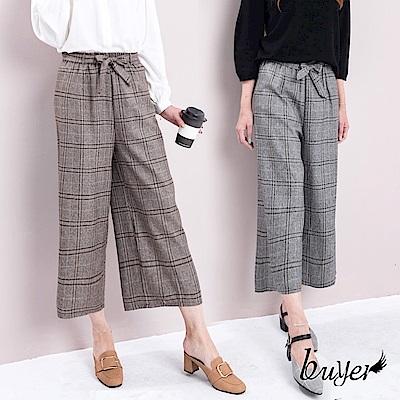 白鵝buyer 韓版 秋冬新款綁帶格子寬褲