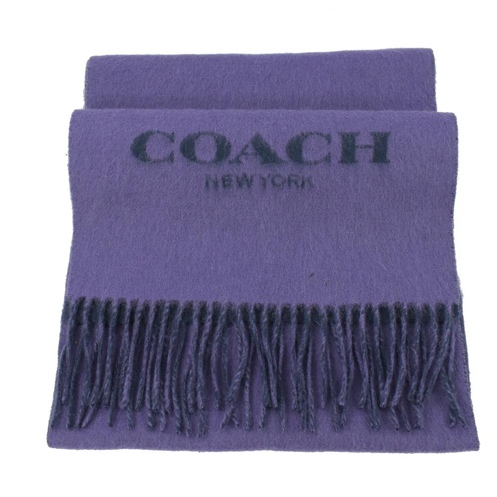 COACH 鬚鬚大LOGO造型長型羊毛圍巾(紫)COACH
