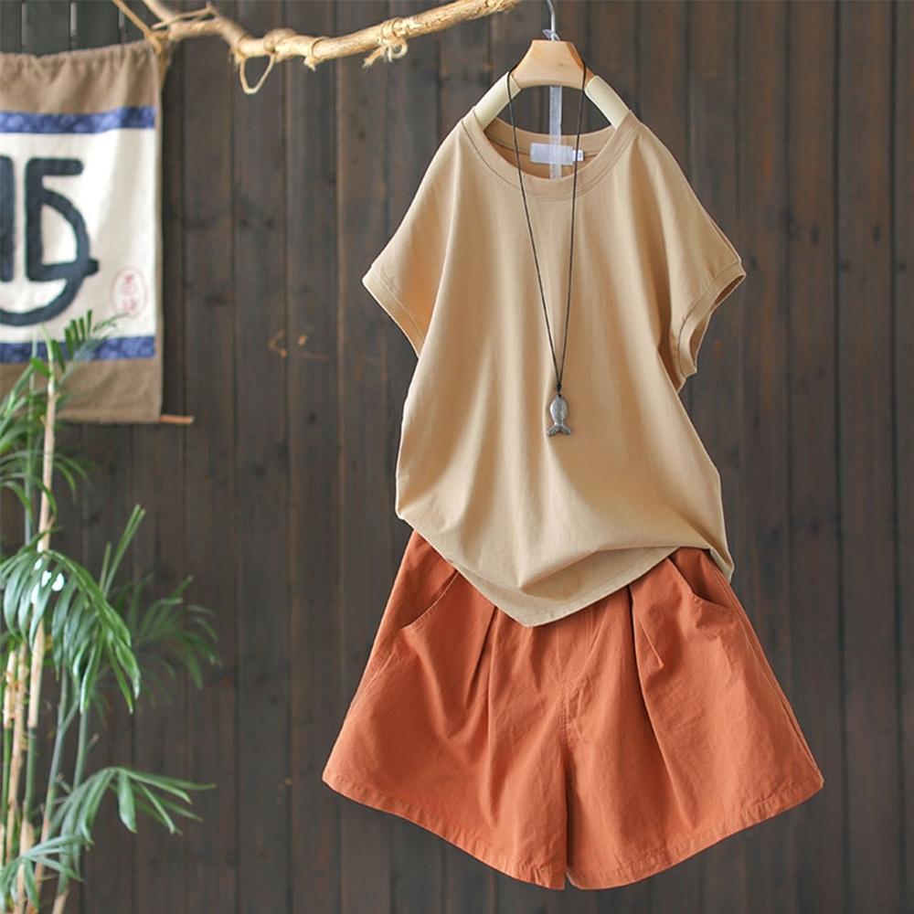 高腰顯瘦純棉短褲熱褲百搭褲子多色-設計所在