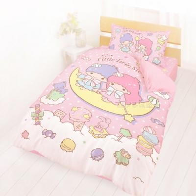 享夢城堡 單人床包兩用被套三件組-雙星仙子Little Twin Stars 月光童話-粉