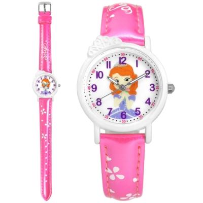 Disney 迪士尼 小公主蘇菲亞 皇冠造型 兒童 卡通 亮面皮革手錶-白x桃紅/28mm
