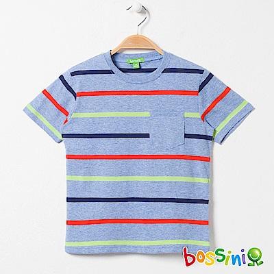 bossini男童-短袖圓領條紋上衣01藍