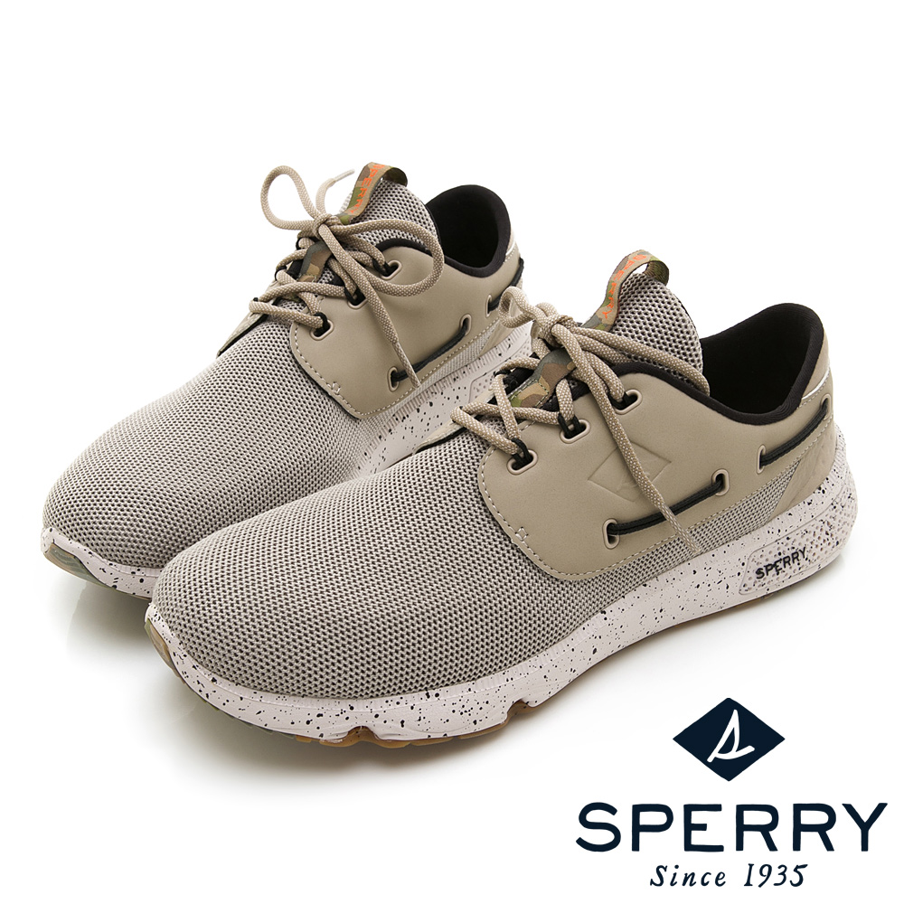SPERRY 文藝復興7SEAS潑墨設計防潑水休閒鞋(男款)-淺綠