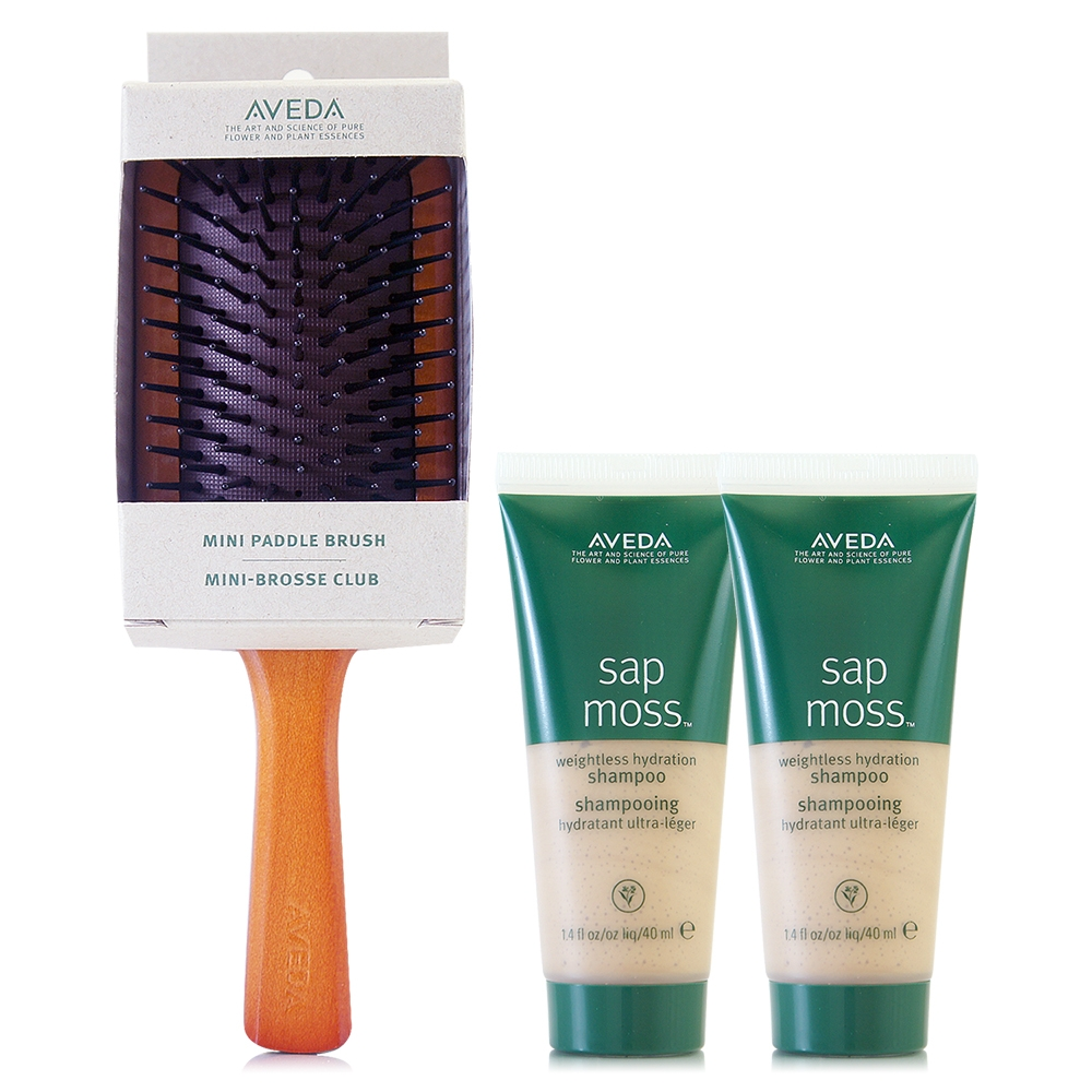 AVEDA 隨行按摩梳*1+檞香保濕洗髮精40ml*2(正統公司貨)
