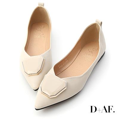 D+AF 絕美風格.多角形釦飾尖頭娃娃鞋*米