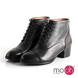 mo.oh-全真皮-復古粗跟牛皮綁帶短靴