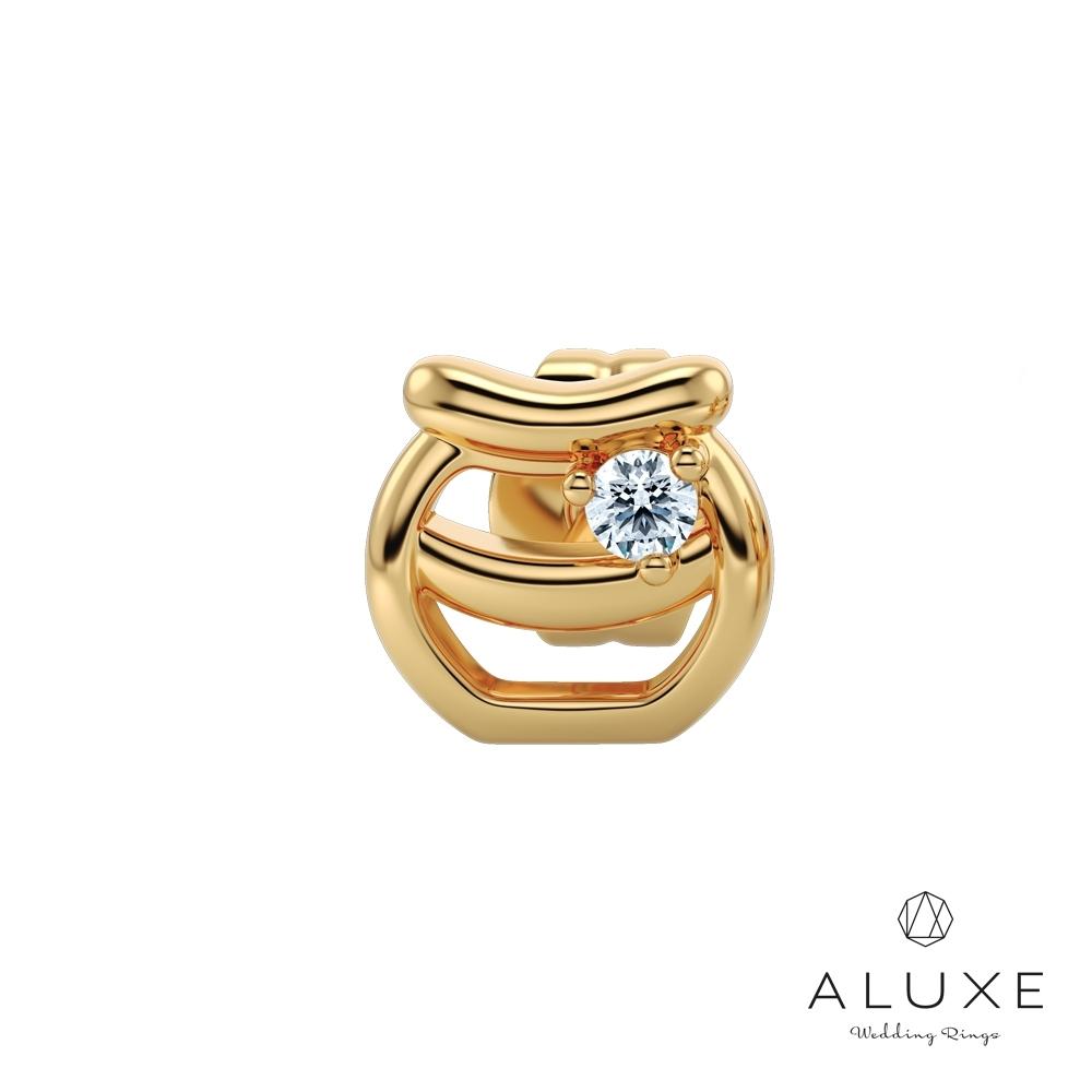 ALUXE亞立詩 小熊維尼 Honey系列10K鑽石耳環(單只)