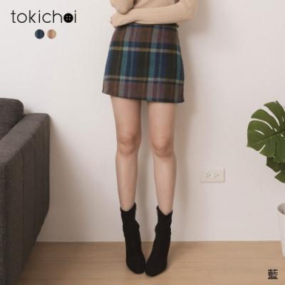 東京著衣 暖暖寒冬跳色格紋毛呢A字短裙-S.M.L(共二色)