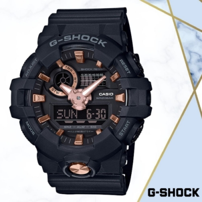 CASIO卡西歐 G-SHOCK強悍黑金雙顯錶(GA-710B-1A4)/53.4mm