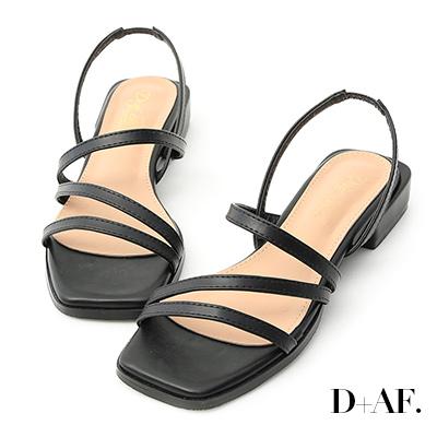 D+AF 優雅滿分.一字斜帶方跟涼鞋*黑