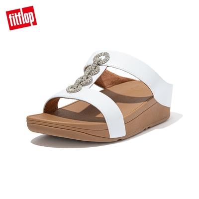 【FitFlop】FINO SPARKLE SLIDES H型設計雙帶涼鞋-女(都會白)