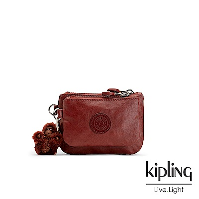 Kipling 雅緻紅褐素面雙拉鍊袋零錢包-SYRINE