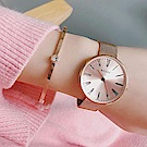 ADEXE英國時尚手錶 Sistine羅馬刻度系列 玫瑰金錶盤x玫瑰金錶框米蘭錶帶35mm